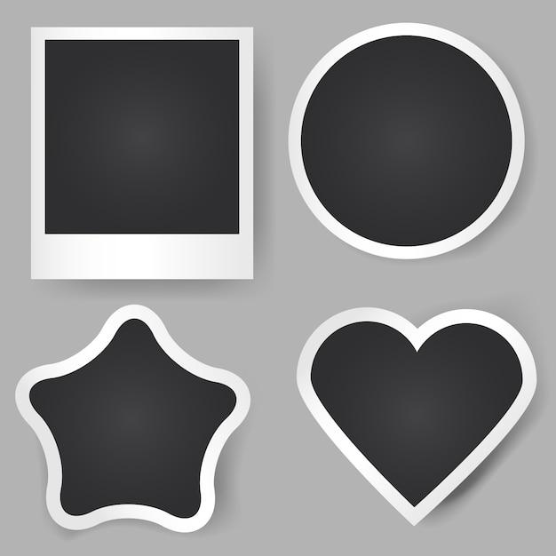 Molduras realistas de vetor. formas diferentes. quadrado clássico, estrela, círculo, coração. Vetor Premium