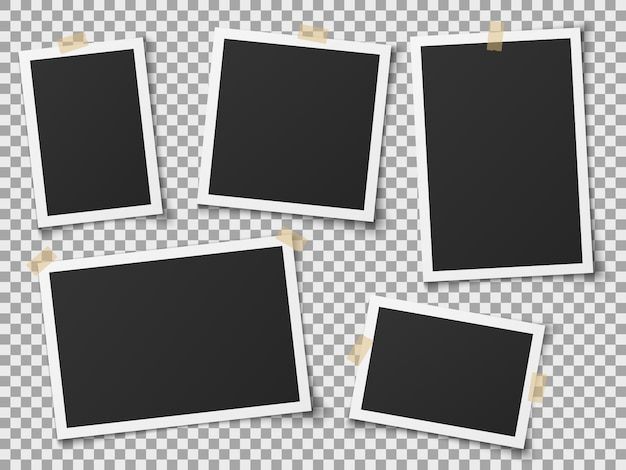 Molduras realistas. molduras para fotos vazias vintage com fitas adesivas. imagens na parede, álbum de memória retrô. modelo vetorial Vetor Premium