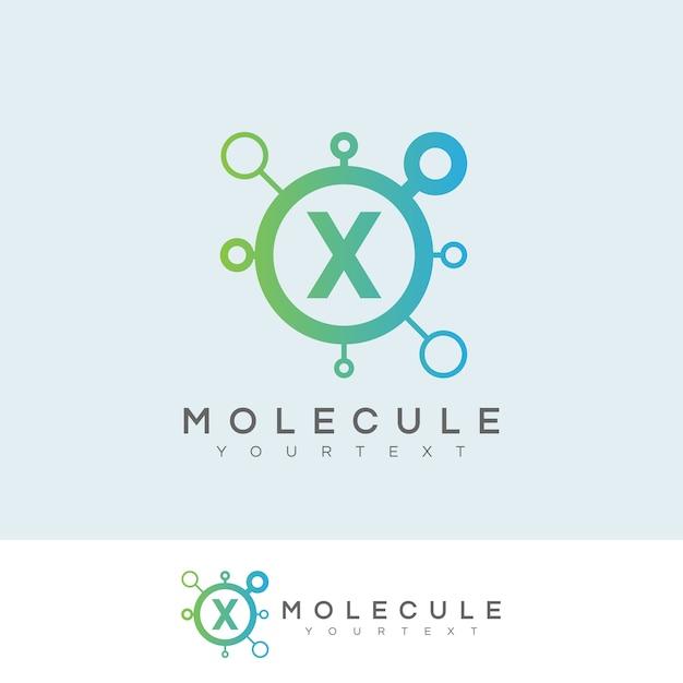 Molécula inicial letter x logo design Vetor Premium