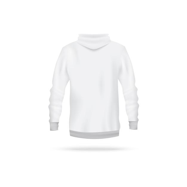 Moletom branco realista de vista traseira - suéter masculino de manga comprida com capuz sobre fundo branco. modelo de vestuário de esporte - ilustração. Vetor Premium