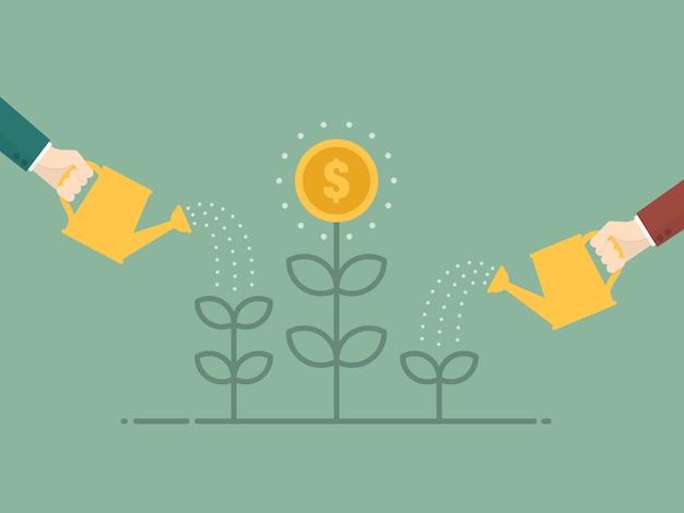 Molhar a planta moeda Vetor grátis