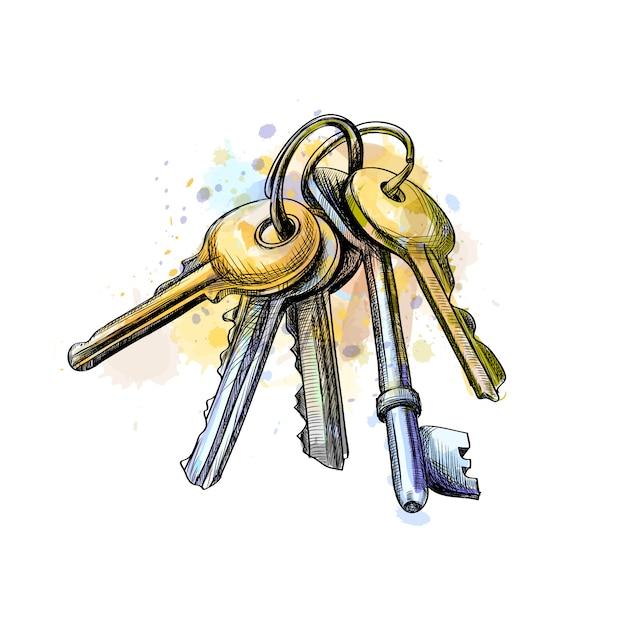 Molho de chaves de um toque de aquarela, esboço desenhado à mão. ilustração vetorial de tintas Vetor Premium