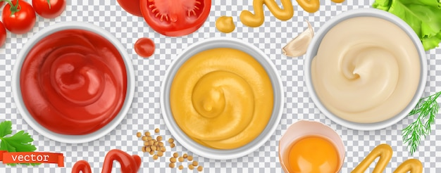 Molhos. ketchup, mostarda, maionese. conjunto realista 3d Vetor Premium