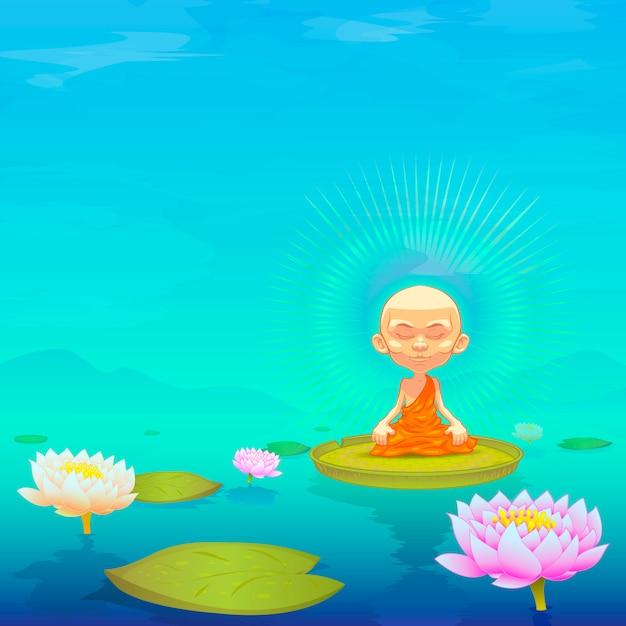 Monge meditando Vetor Premium