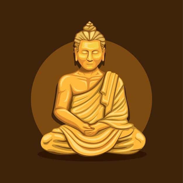 Monge rezando meditação na estátua de ouro da religião budista Vetor Premium