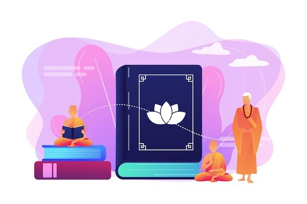 Monges budistas em mantos laranja meditando e lendo, gente minúscula. zen budismo, local de culto do budismo, conceito de livro sagrado budista. Vetor grátis
