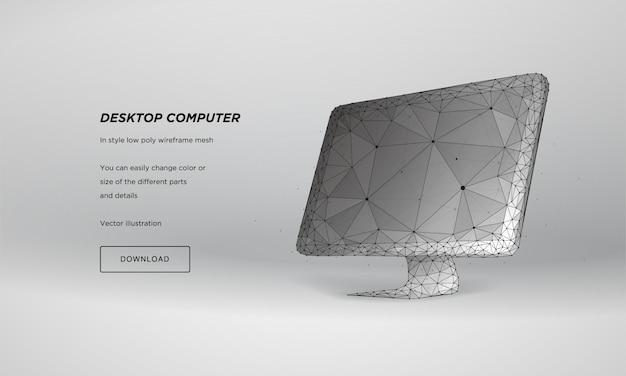 Monitor 3d abstrato, estrutura de arame baixa poli Vetor Premium