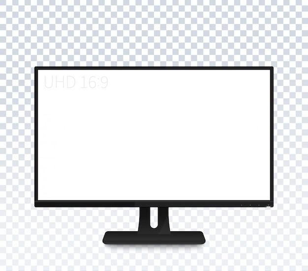 Monitor de computador com ampla tela em branco Vetor Premium