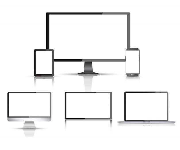 Monitor de computador realista Vetor Premium