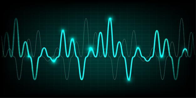 Monitor de pulso de coração azul com sinal Vetor Premium