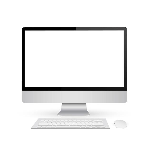 Monitor de simulação com tela em branco. Vetor Premium