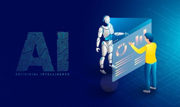 Monitoramento robótico de dados. Vetor Premium