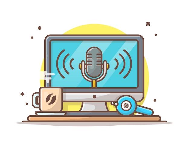 Monitorar com alto-falante, café quente e ícone de fone de ouvido. podcast fala branco isolado Vetor Premium