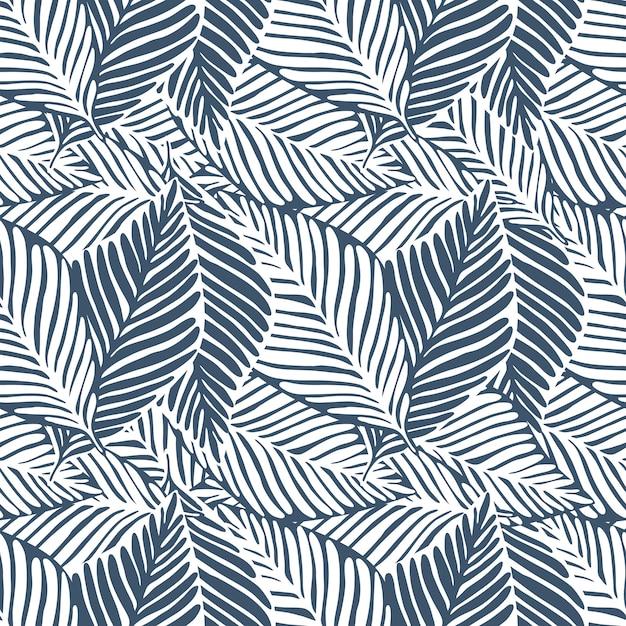 Monocromático deixa impressão de selva. padrão tropical, folhas de palmeira sem emenda. planta exótica. Vetor Premium