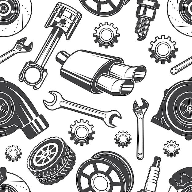 Monocromático padrão sem emenda com ferramentas de automóveis e detalhes. peças para padrão de carro de reparação, freio de detalhe e faísca, ilustração vetorial Vetor Premium