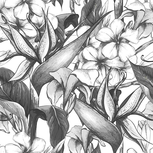 Monocromático padrão sem emenda com flores exóticas Vetor Premium