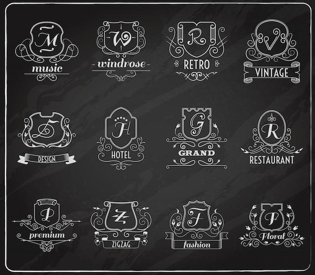 Monogram shields chalkboard set Vetor grátis