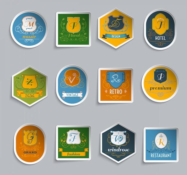 Monogram shields stickers set Vetor grátis