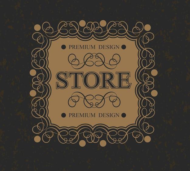 Monograma da loja borda de design caligráfico luxuoso, Vetor Premium