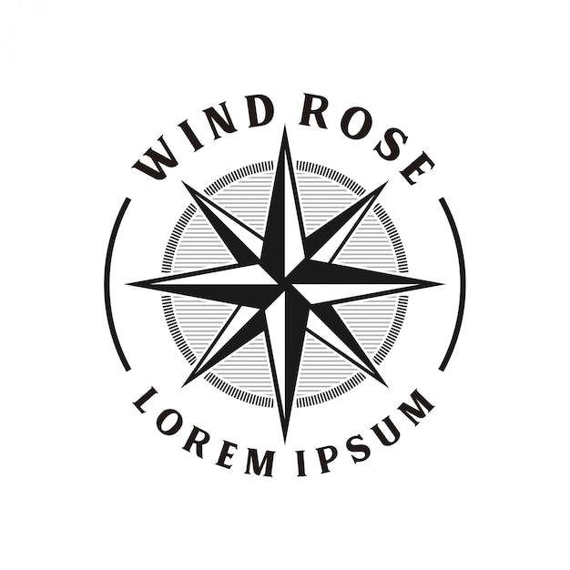 Monograma de design de logotipo vintage windrose Vetor Premium