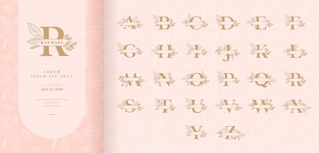 Monograma decorativo dividir letras com folhas Vetor Premium