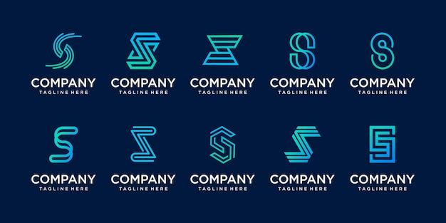 Monograma do logotipo da letra s do estilo do minimalismo da coleção. Vetor Premium
