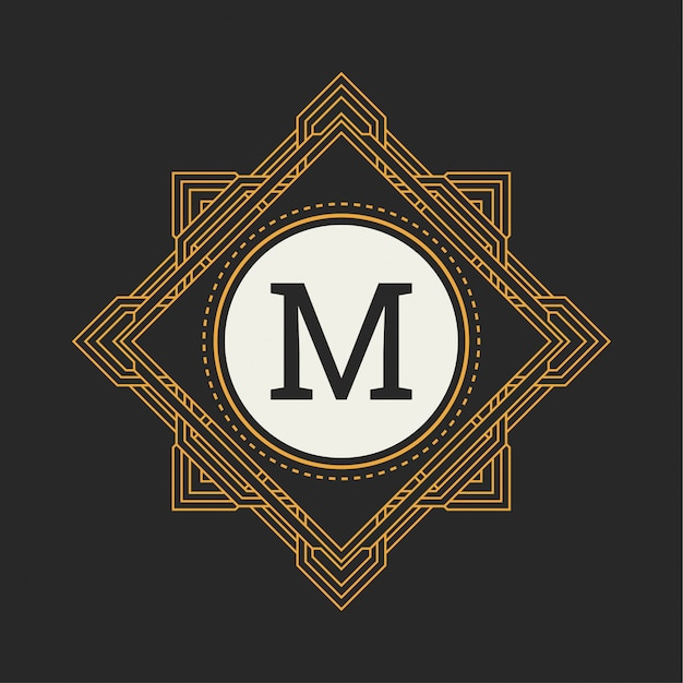 Monograma floral. ornamento clássico para o logótipo m Vetor Premium