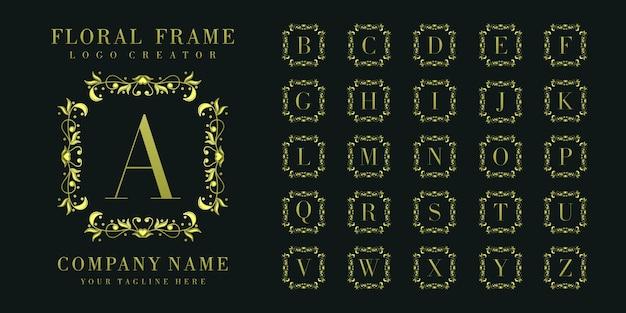 Monograma inicial do logotipo com ornamentos florais Vetor Premium