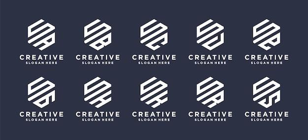 Monograma lettermark s com outro em formato hexagonal, logo pode ser usado para as iniciais do nome logo. Vetor Premium