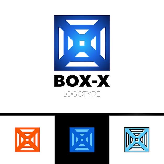 Monograma linear do logotipo da letra x em caixa ou cubo. Vetor Premium