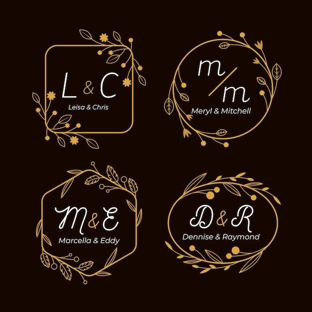 Monogramas caligráficos de casamento dourado Vetor Premium