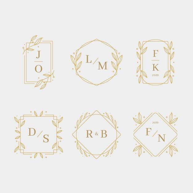 Monogramas de casamento design elegante Vetor grátis