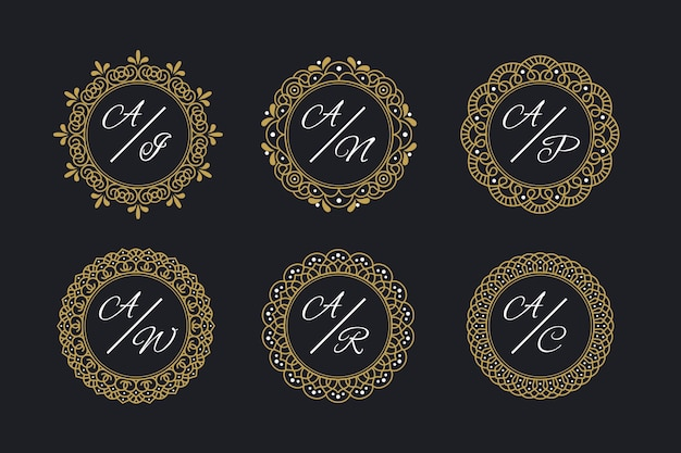 Monogramas de casamento elegante com moldura Vetor grátis