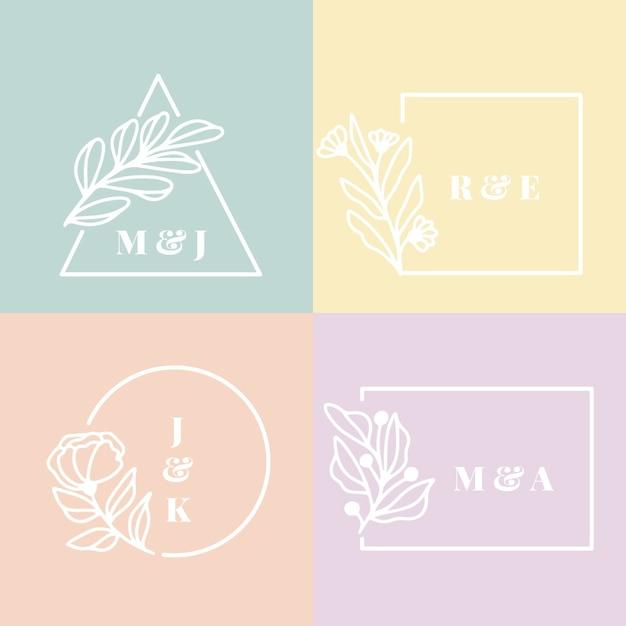 Monogramas de casamento em design de cores pastel Vetor grátis