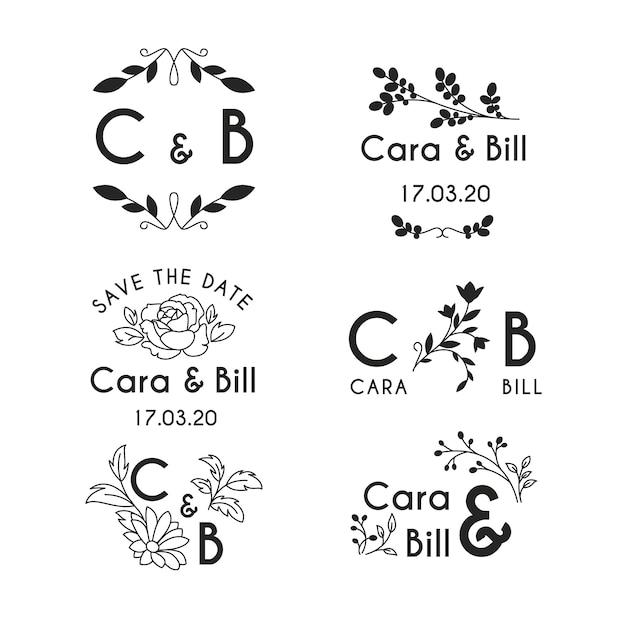 Monogramas de casamento estilo floral Vetor grátis