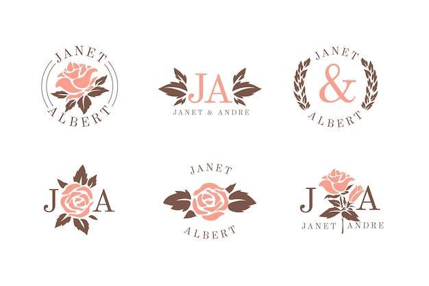 Monogramas de casamento floral Vetor Premium