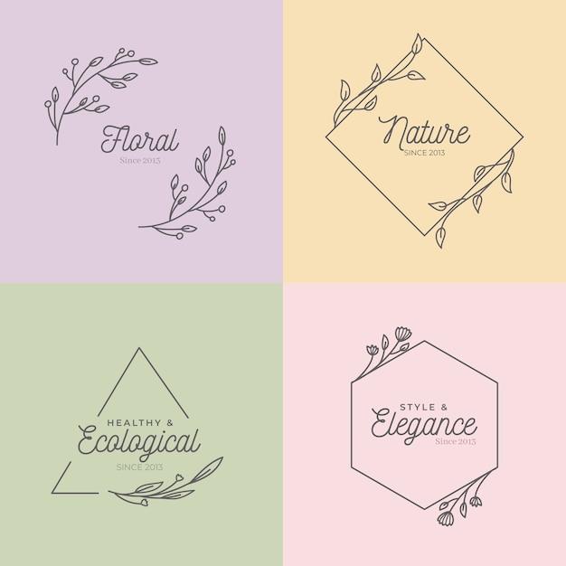 Monogramas de casamento lindo na coleção de cores pastel Vetor grátis