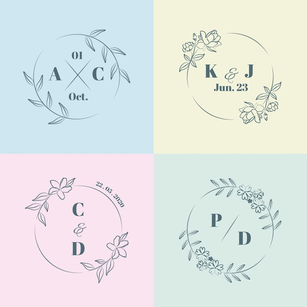Monogramas de casamento minimalista colorido em cores pastel Vetor grátis