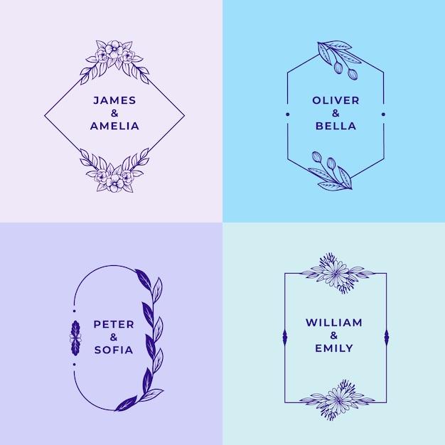 Monogramas de casamento minimalistas em pacote de cores pastel Vetor grátis