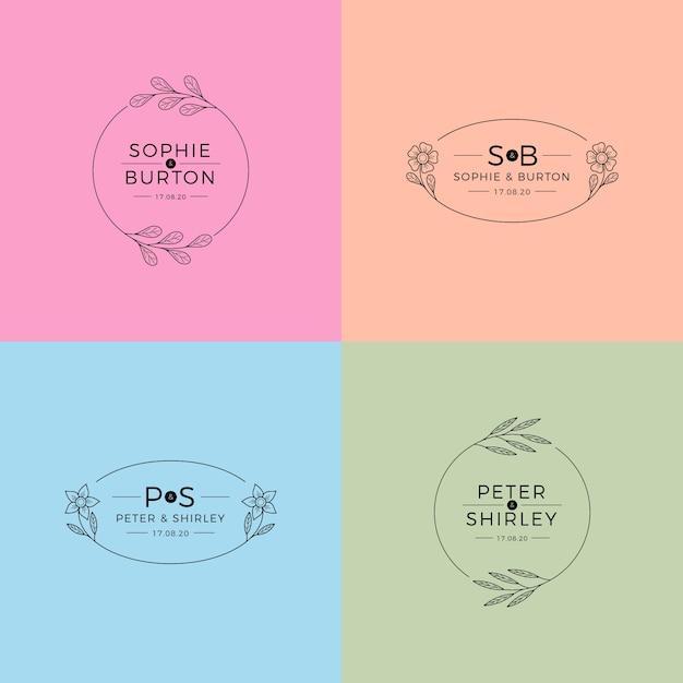 Monogramas de casamento no conceito de cores pastel Vetor grátis