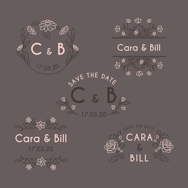 Monogramas do casamento do design floral Vetor grátis