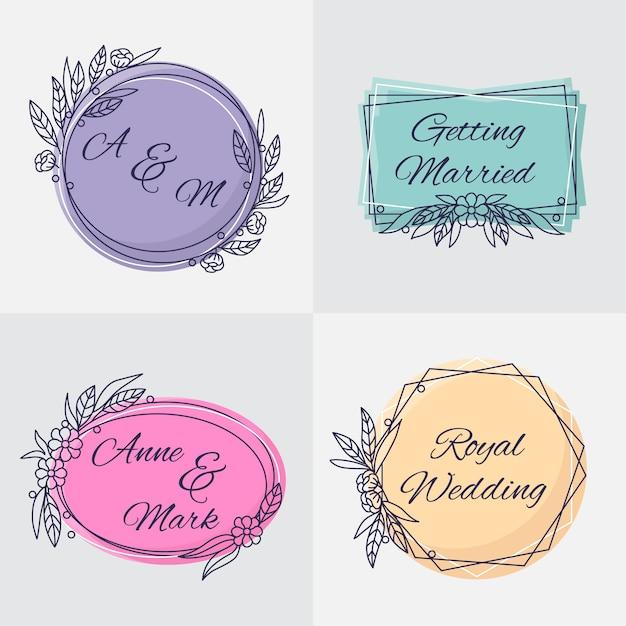 Monogramas elegantes do casamento do design Vetor grátis