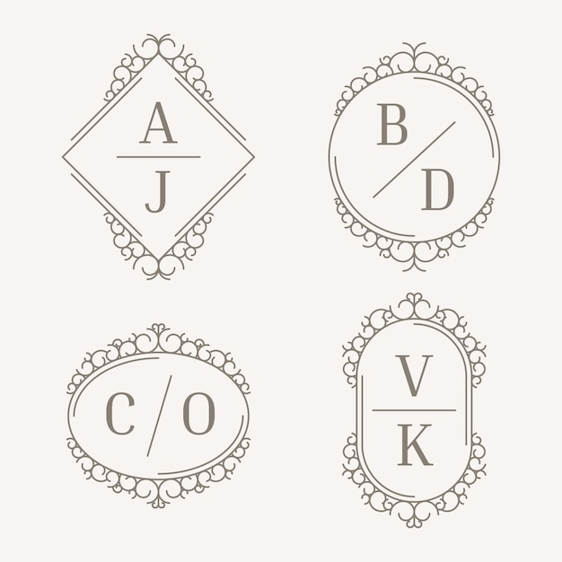 Monogramas elegantes do casamento Vetor grátis