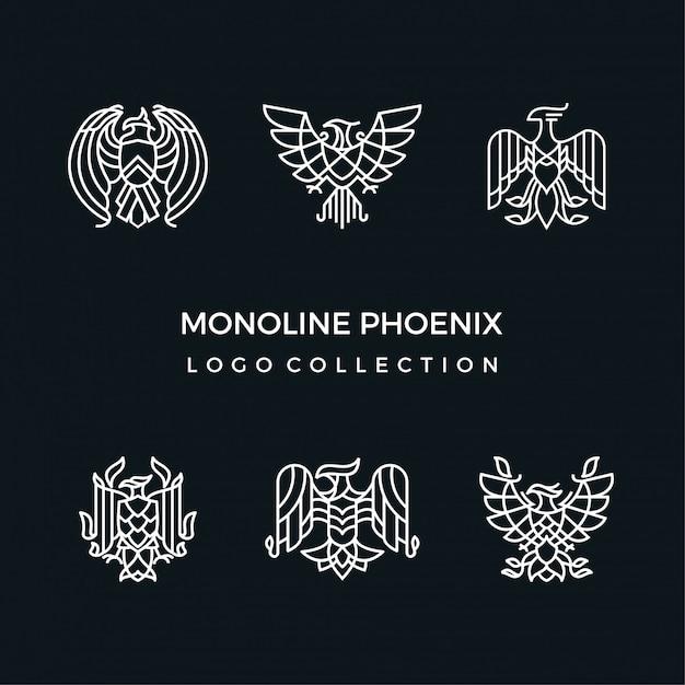 Monoline phoenix Vetor Premium