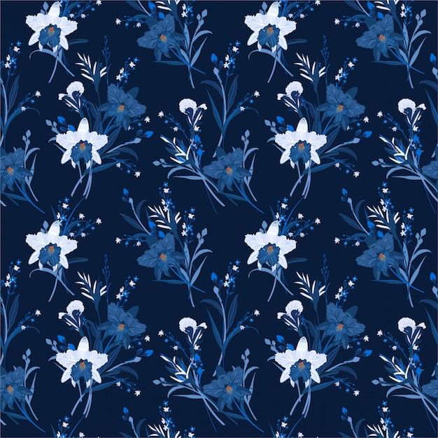 Monótona em azul de padrão sem emenda floral com orquídeas. mão, desenhado, vetorial, ilustração Vetor Premium