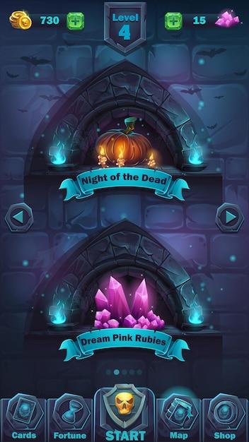 Monster battle gui playing field - interface de usuário do jogo de ilustração de desenho animado - fundo horrível parede de halloween com abóbora e o campo de jogo de cristais Vetor Premium