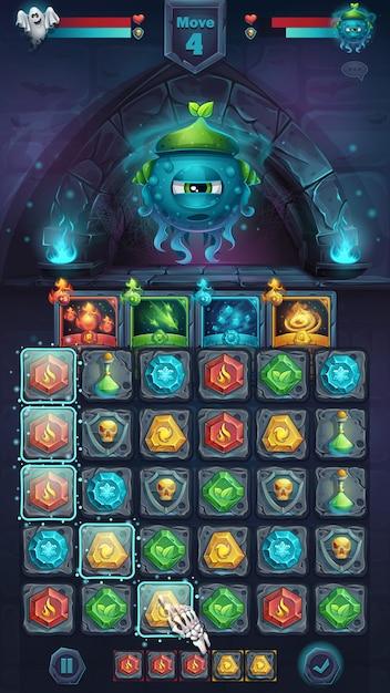 Monster battle gui slug nature playing field match - janela de formato móvel de ilustração estilizada dos desenhos animados com botões de opções, itens de jogo, cartões. Vetor Premium