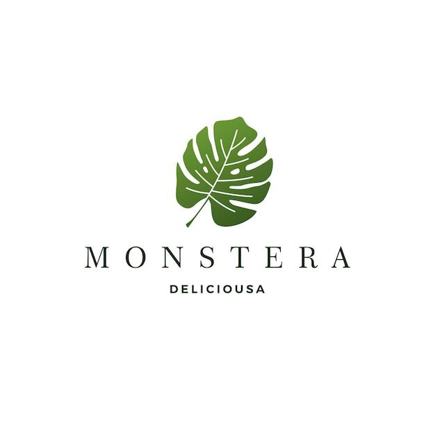 Monstera deliciosa deliciousa leaf logo Vetor Premium