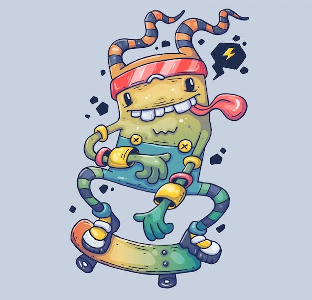 Monstro alegre no skate. ilustração dos desenhos animados personagem no moderno estilo gráfico. Vetor Premium
