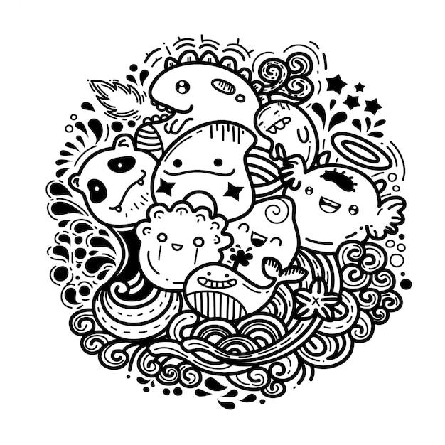 Monstro bonito doodles Vetor Premium